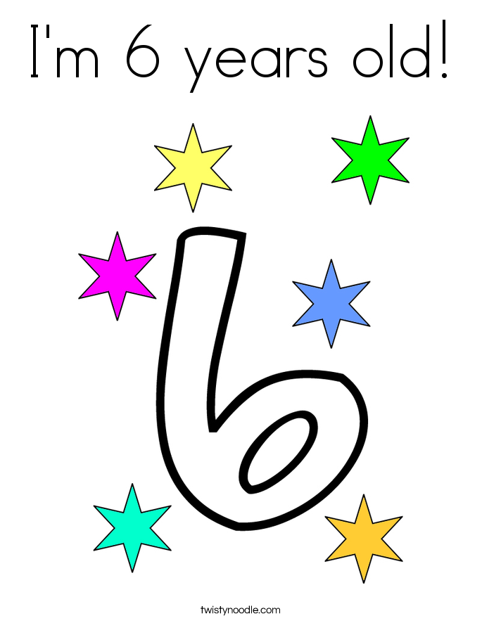 I'm 6 years old! Coloring Page