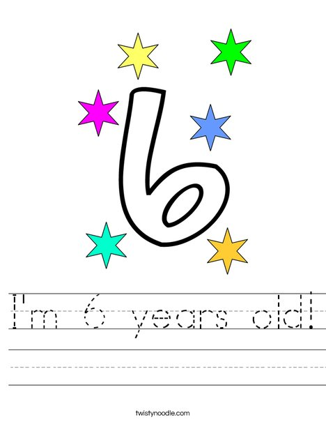 I'm 6 years old! Worksheet
