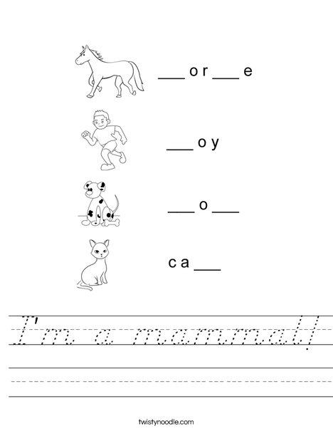 I'm a mammal! Worksheet