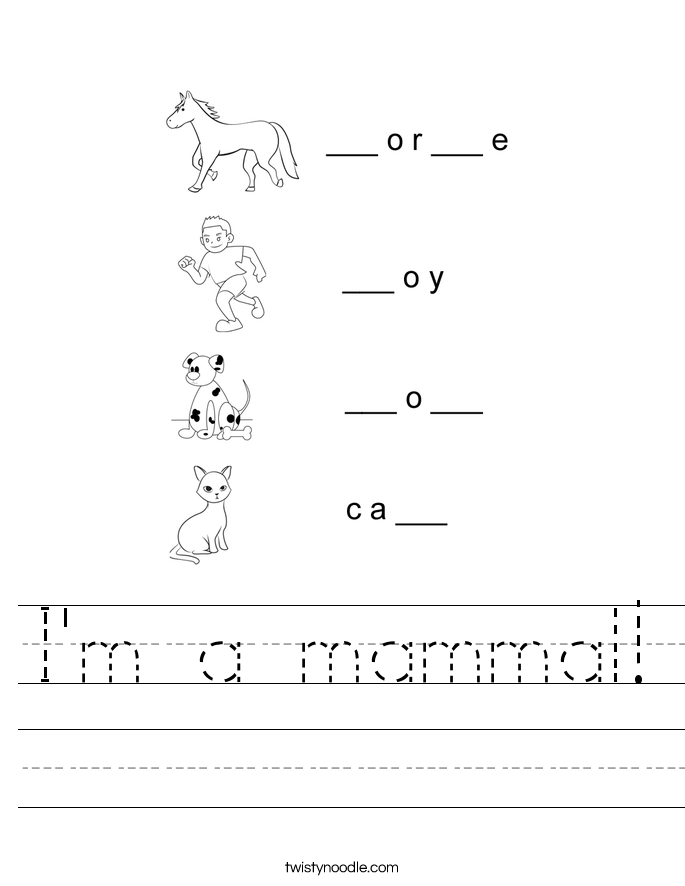 I'm a mammal! Worksheet