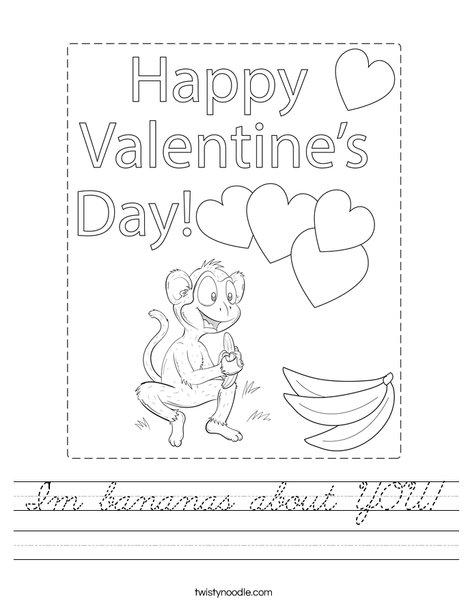 I'm bananas about you! Worksheet