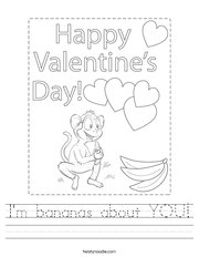I'm bananas about YOU Handwriting Sheet