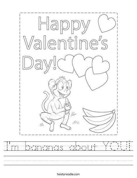 I'm bananas about you! Worksheet