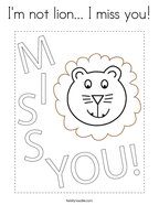 I'm not lion I miss you Coloring Page
