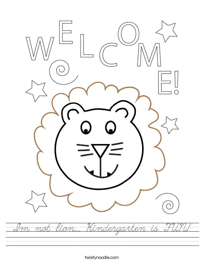 I'm not lion... Kindergarten is FUN! Worksheet