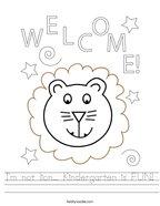 I'm not lion Kindergarten is FUN Handwriting Sheet