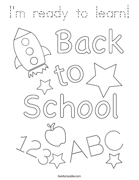 I'm ready to learn! Coloring Page