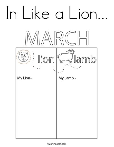 In Like a Lamb... Coloring Page