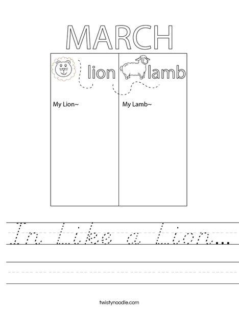 In Like a Lamb... Worksheet