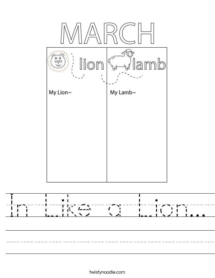In Like a Lion... Worksheet