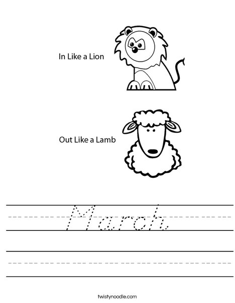In Like a Lion Worksheet