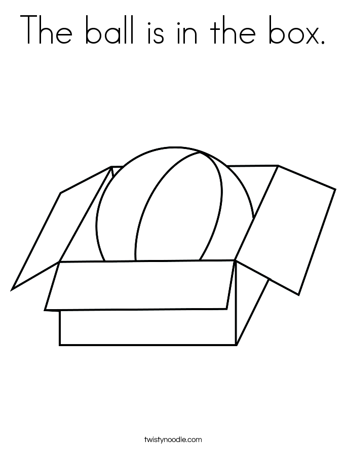 The ball is in the box. Coloring Page