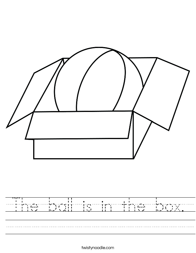 The ball is in the box. Worksheet