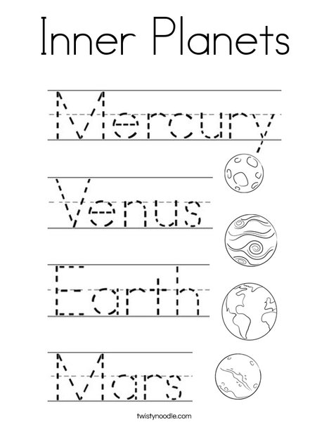 Inner Planets Coloring Page - Twisty Noodle