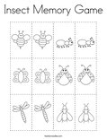 Insect Memory Game Coloring Page