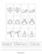 Insect Memory Game Handwriting Sheet