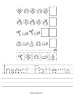 Insect Patterns Handwriting Sheet