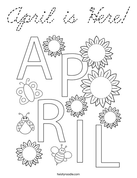 April is Here! Coloring Page