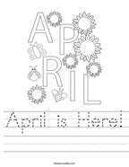 April is Here Handwriting Sheet