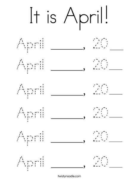 It is April! Coloring Page