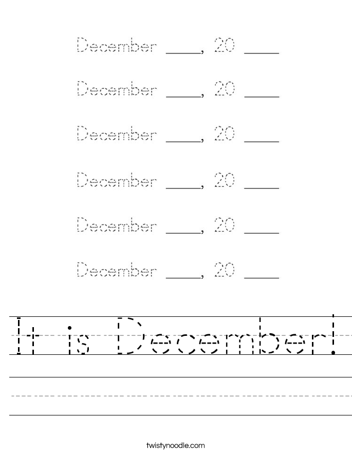 It is December! Worksheet
