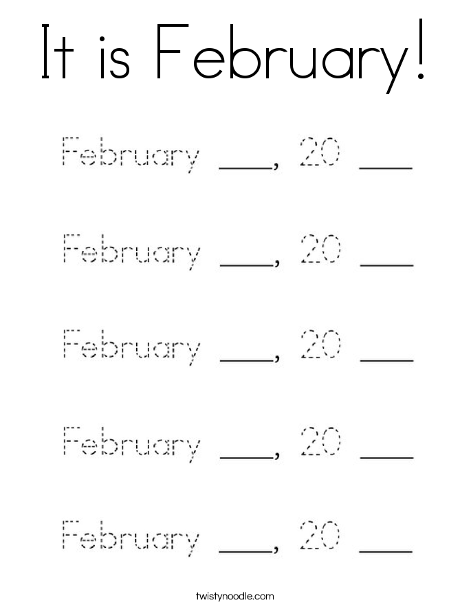 It is February! Coloring Page