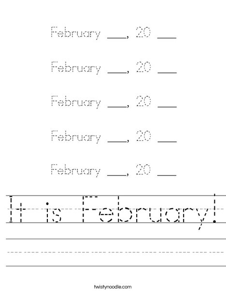 It is February! Worksheet