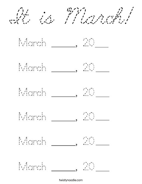 It is March! Coloring Page