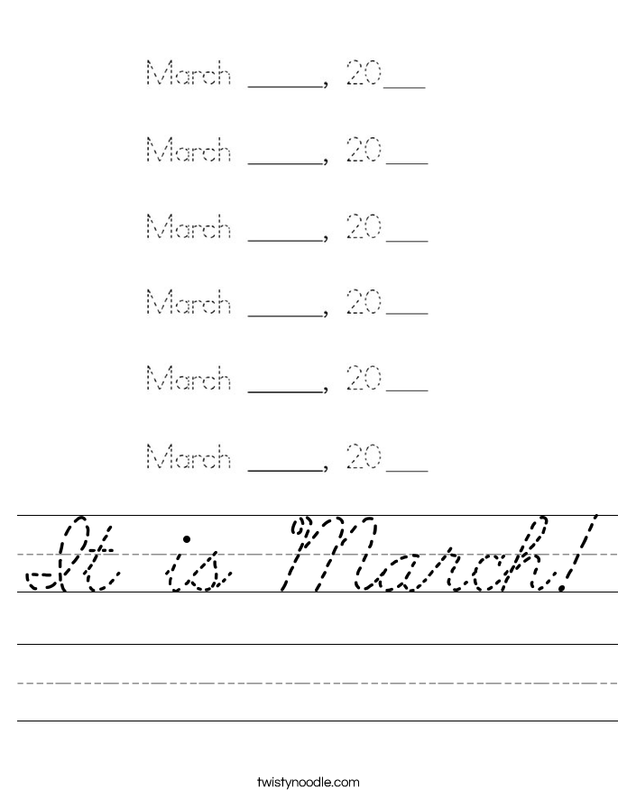 It is March! Worksheet