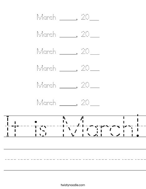 It is March! Worksheet