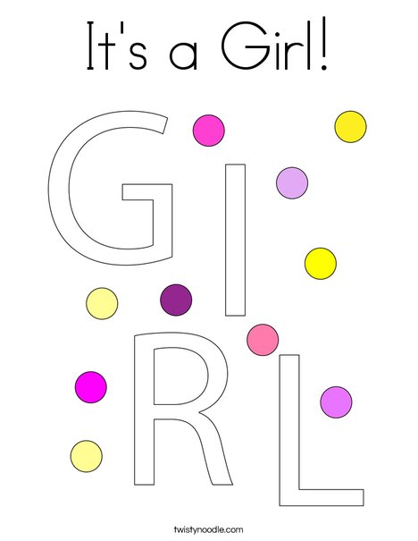 It\'s a Girl Coloring Page - Twisty Noodle