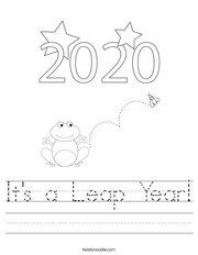 It's a Leap Year Handwriting Sheet
