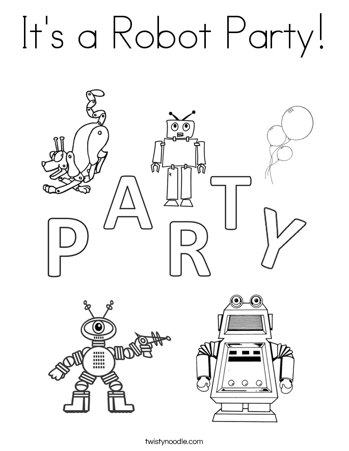 It's a Robot Party! Coloring Page