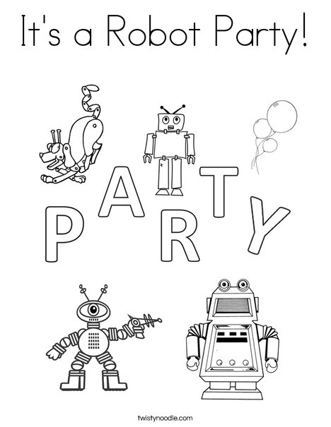 It's a Robot Party Coloring Page