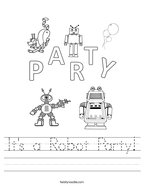 It's a Robot Party Handwriting Sheet