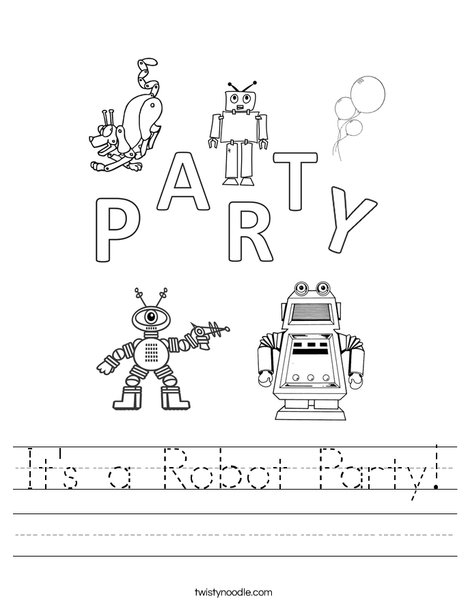 It's a Robot Party Worksheet