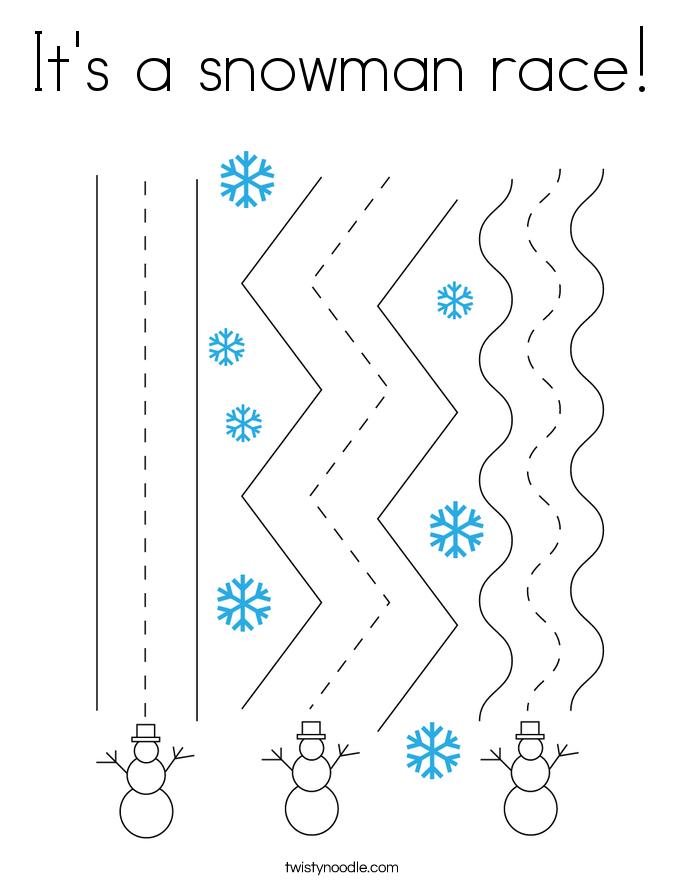 It's a snowman race! Coloring Page