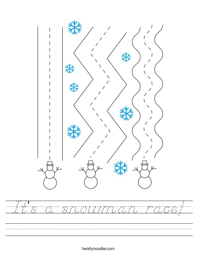 It's a snowman race! Worksheet