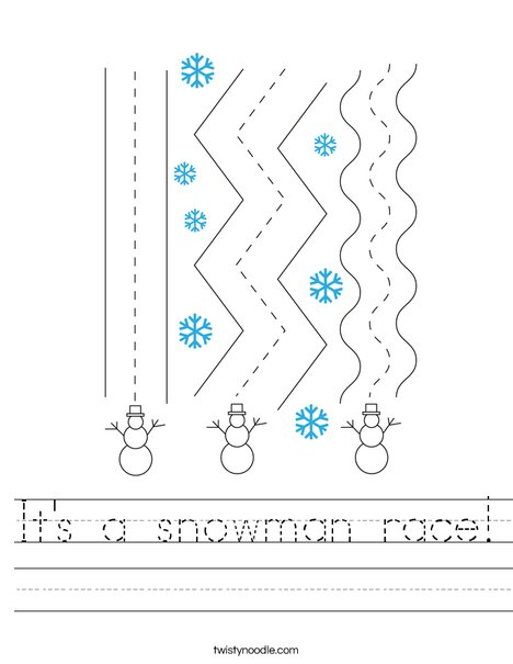 It's a snowman race! Worksheet
