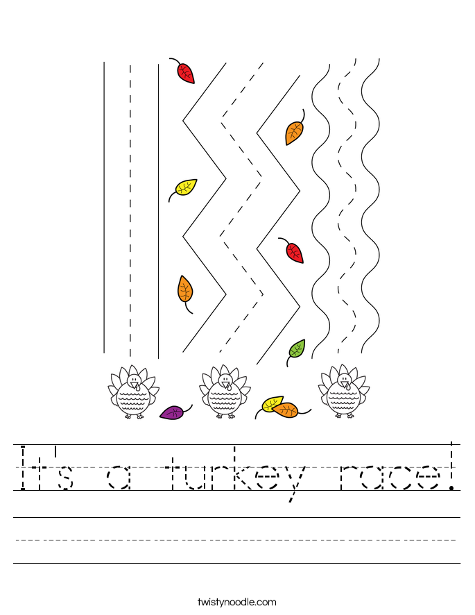 It's a turkey race! Worksheet
