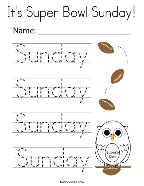 It's Super Bowl Sunday! Coloring Page