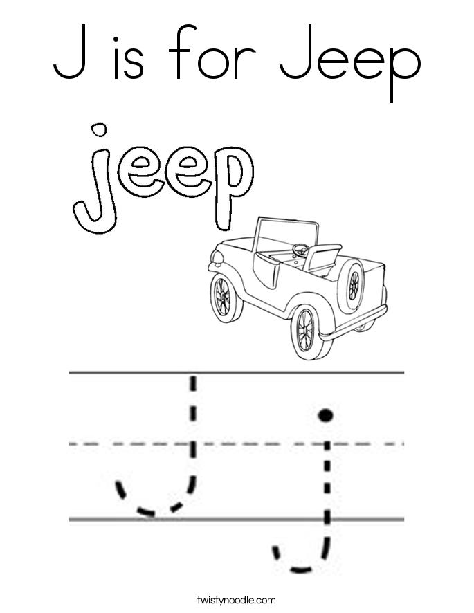 J is for Jeep Coloring Page