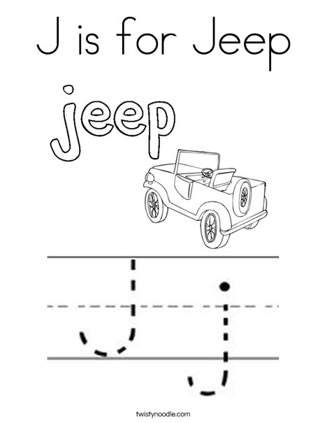 J is for for jeep Coloring Page