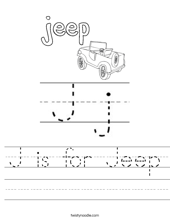 J is for Jeep Worksheet