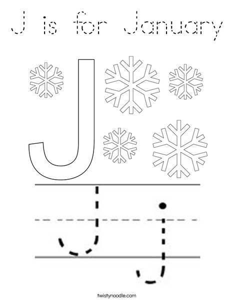 J is for January Coloring Page