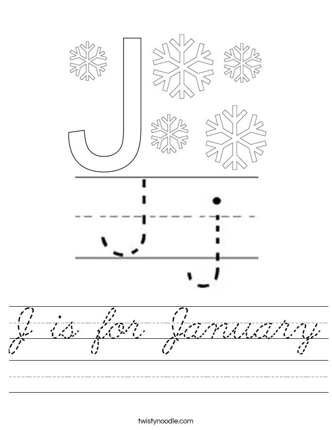 J is for January Worksheet
