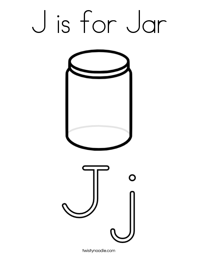 J is for Jar Coloring Page