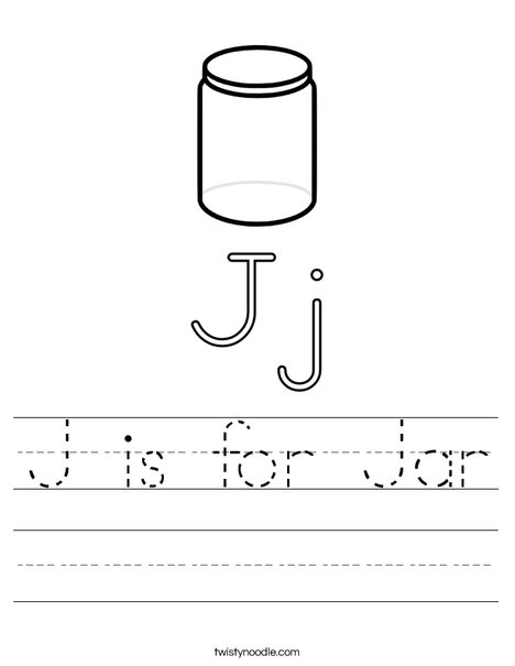 J is for Jar Worksheet