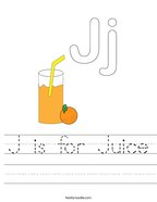 J is for Juice Handwriting Sheet