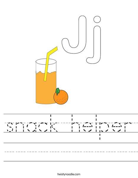 J is for Juice Worksheet